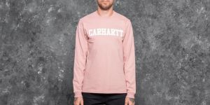 Carhartt WIP Longsleeve College T-Shirt Soft Rose/ White M
