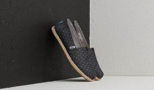 TOMS Wmn Classic Rope Sole Black Dot Chambray