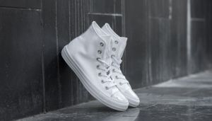 Converse Chuck Taylor All Star Brush Off Leather Toecap White/ Pure Silver/ White  EUR 41