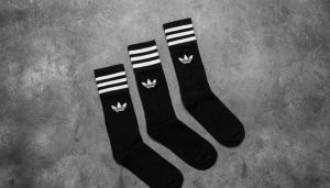 adidas Solid Crew Sock 3 Pack Black/ White 6.5-8.5