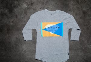 Diamond Geometric Reglan Tee Grey S