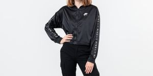 Nike Sportswear Air Track Satin Jacket Black