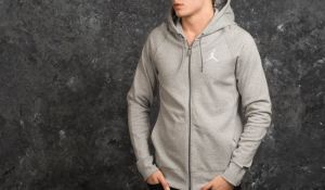 Jordan Flight Line Hoodie Medium Grey Heather/ White S