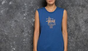Stüssy Big Cities Raw Edge Muscle Tee Blue S