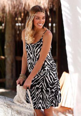 Beachtime Plážové šaty so zvieracou potlačou Beachtime čierna biela vzorová  32 dc43a93339e