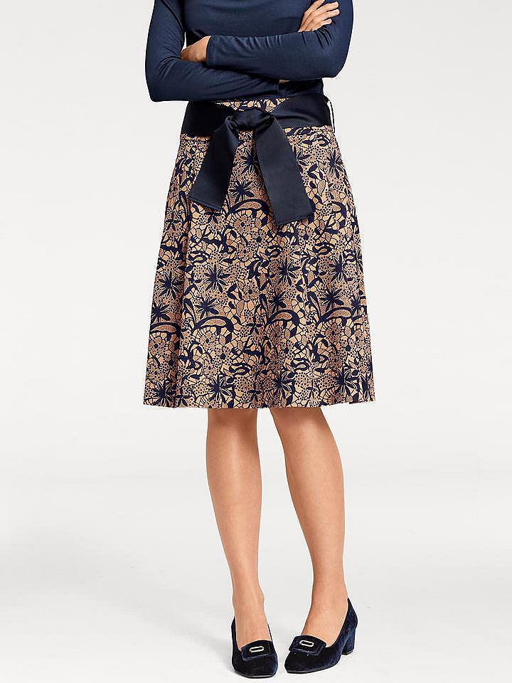 9b24b24e8b69 ASHLEY BROOKE by heine Formujúca vzorkovaná sukňa s efektom brúško preč  Heine timeless námornícka modrá-ťavia 36 značky Heine timeless - Lovely.sk