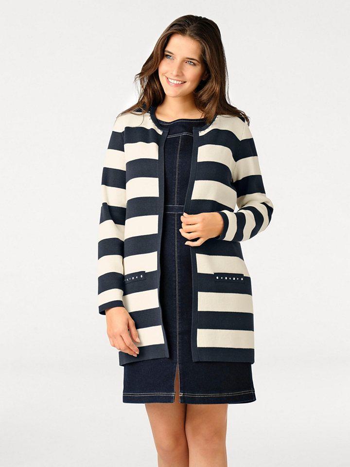 b05471959cb7 ASHLEY BROOKE by Heine Dlhý pletený sveter s kamienkami Ashley Brooke by  heine námornícka modrá-béžová 36