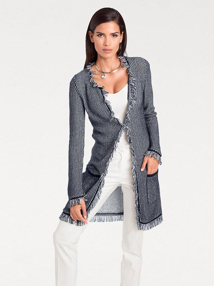65e09c71d075 ASHLEY BROOKE by heine Dlhý pletený sveter so strapcami Ashley Brooke by  heine námornícka modrá-vlnená biela 36 38 značky Ashley brooke by heine -  Lovely.sk