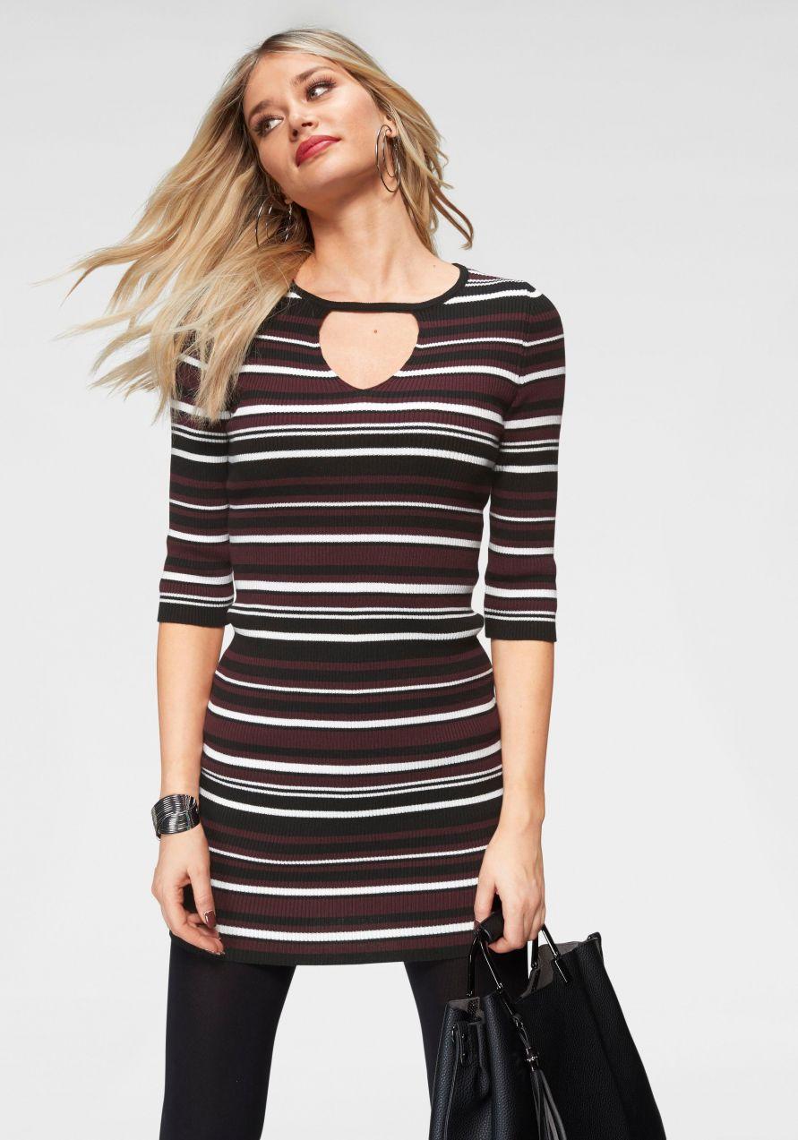 Melrose pletené šaty Melrose bordová-pruhovaná - N-veľkost 40 značky MELROSE  - Lovely.sk d21d07c6bc