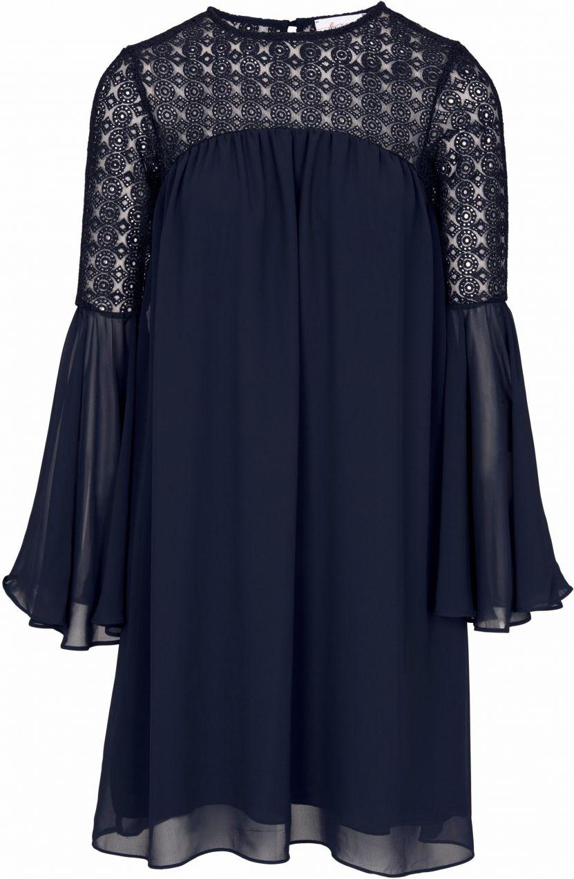 42c0254cfb28 LINEA TESINI by heine Čipkované šaty s volánom Heine casual námornícka  modrá 40 značky Heine casual - Lovely.sk
