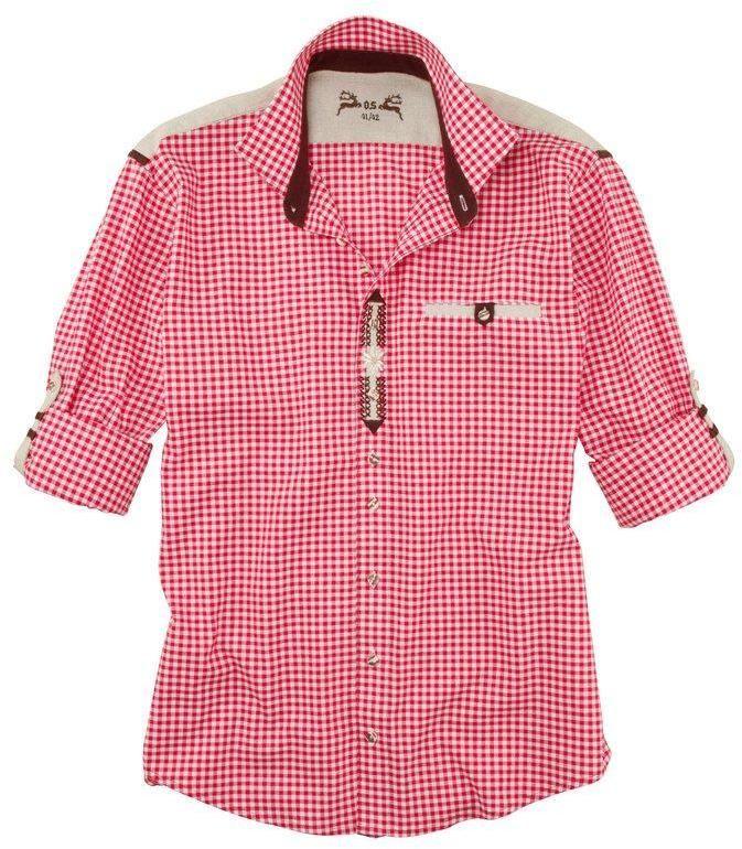 e25d2760a63c OS-Trachten Krojová košeľa s výšivkou DEFAULT INVALID červená-biela 43  (43 44)