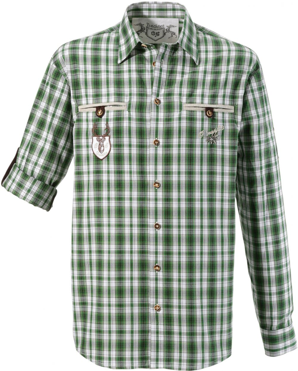 b0dc6a56b92c Krojová košeľa OS-Trachten s rukávmi na vyhrnutie DEFAULT INVALID zelená- biela 47-48