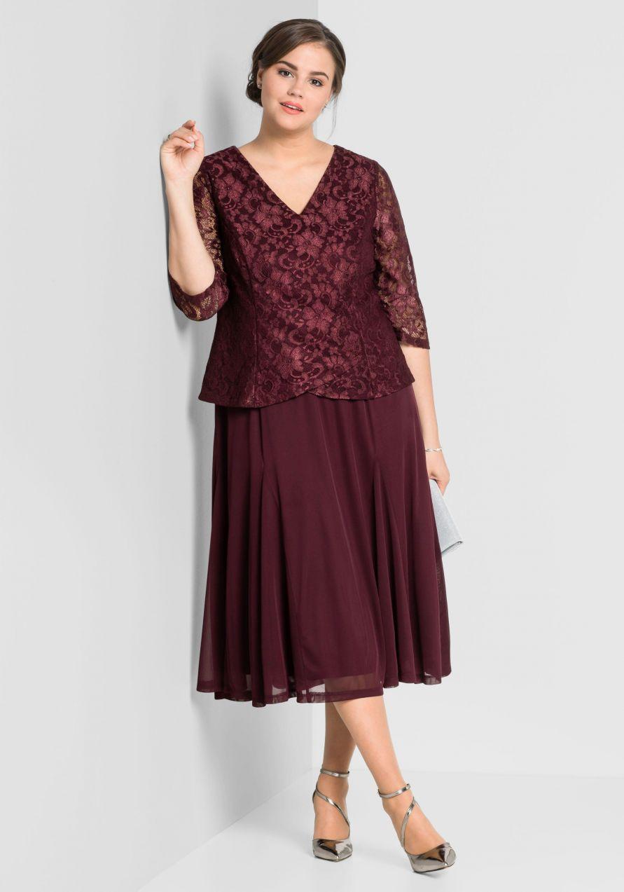 sheego Style Večerné šaty sheego Style baklažánová - N-veľkost 44 ... 4ad2665063