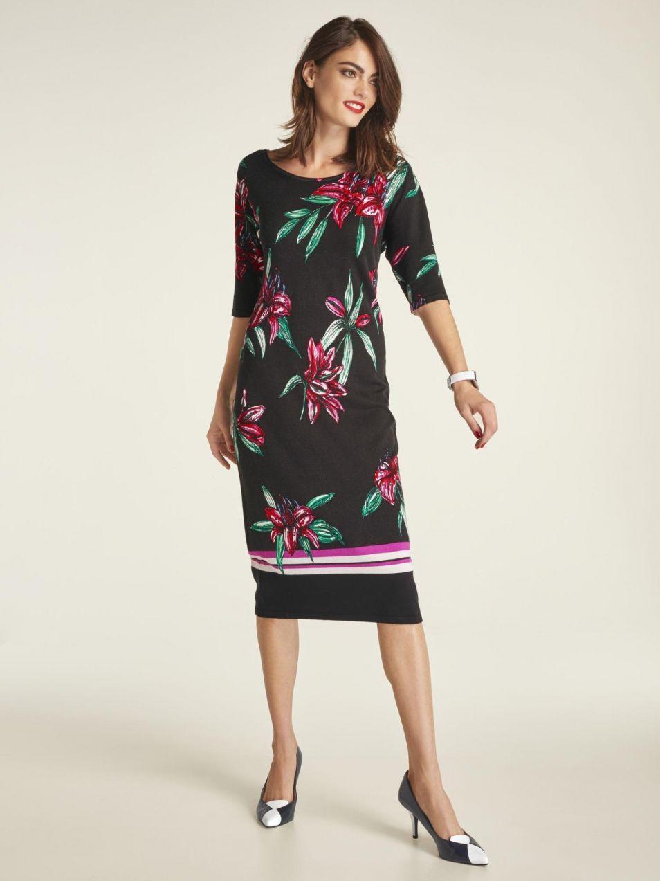 7d63a9481d05 heine TIMELESS Úpletové šaty s kvetinovou potlačou heine značky ...