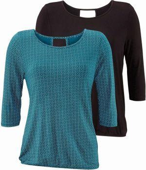 2067d6a69 Lascana LASCANA tričko (2 ks) s výrezom petrolejová s potlačou+ ...