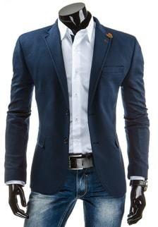 Modré pánske sako s nášivkami na lakťoch - Lovely.sk c88430e39f6