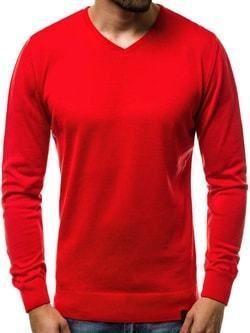 a9ed56dc48fa Pohodlný červený sveter v jednoduchom prevedení OZONEE B 2390