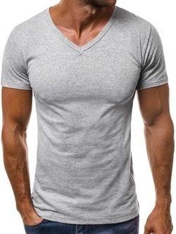 bdcf5f4448b6 Klasické sivé tričko s V-čkovým výstrihom OZONEE O 1211 - Lovely.sk