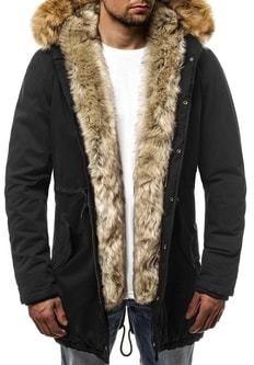 Štýlová pánska zimná bunda čierna OZONEE N 5578 - Lovely.sk 8ab57055d19