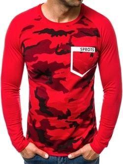 8c4955dd092e Maskáčové tričko s dlhým rukávom červené OZONEE JS 1054 - Lovely.sk