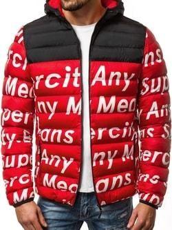 Zimná prešívaná pánska bunda červená OZONEE JS SM36 - Lovely.sk 17ba1a03782