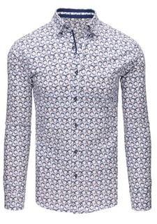 2b372502076d Zaujímavá biela SLIM FIT pánska košeľa - Lovely.sk