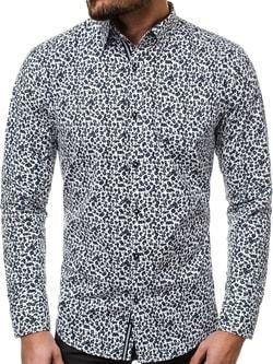 5dc68b1397f3 Biela košeľa OZONEE V K71 s atraktívnym vzorom