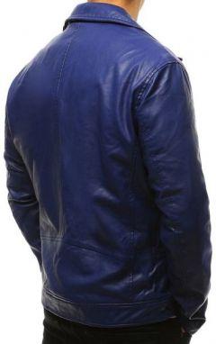 066fdb12a Modrá koženková bunda v pútavom prevedení - Lovely.sk