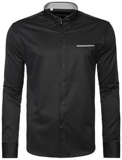 b96242dbe7b8 Čierna pánska košeľa OZONEE 2225 - Lovely.sk