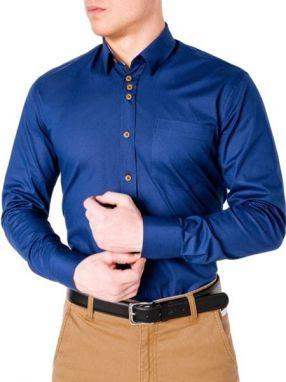 40e0aa1343e1 Moderná modrá košeľa s nášivkami k361 - Lovely.sk