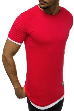 a74f5c4e577b3 Predĺžené pánske tričko červené O/1262 - Lovely.sk