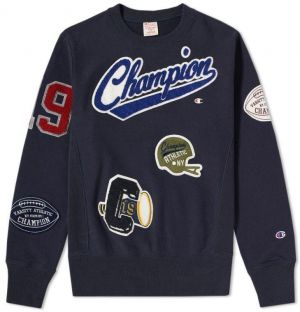 Champion Mikina Reverse Weave Allover Patch Crewneck Navy