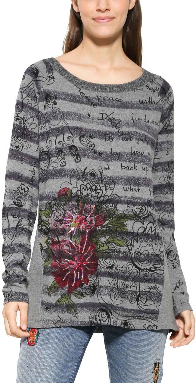186ec61afc06 Desigual sivý sveter Lia značky Desigual - Lovely.sk