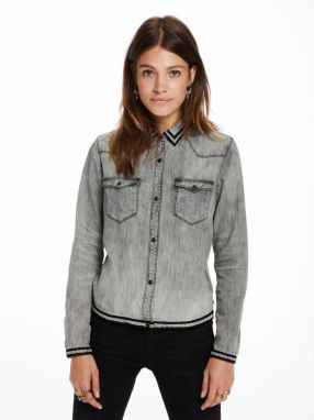 Scotch&Soda sivá denimová košeľa Taped Denim