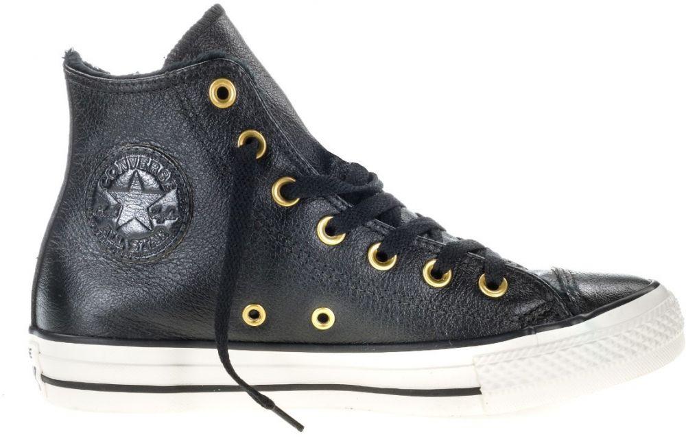 Converse černé kožené tenisky s kožíškem Chuck Taylor All Star Hi  Black Egret značky Converse - Lovely.sk c2948a30e6b