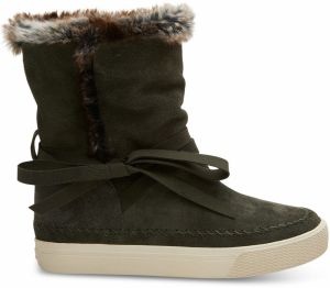 Toms khaki čižmy Vista Forest Waterproof Suede/Faux Fur