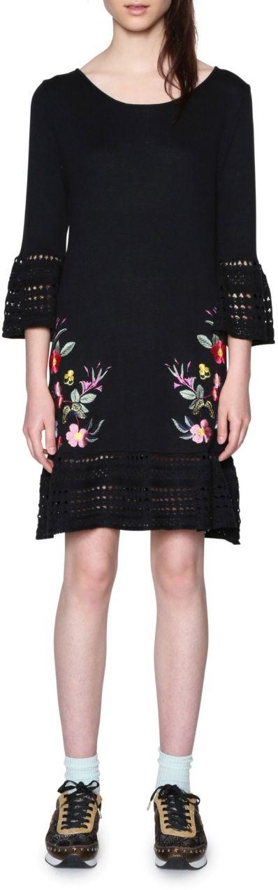 84b8a1348c40 Desigual čierne úpletové šaty Michigan značky Desigual - Lovely.sk