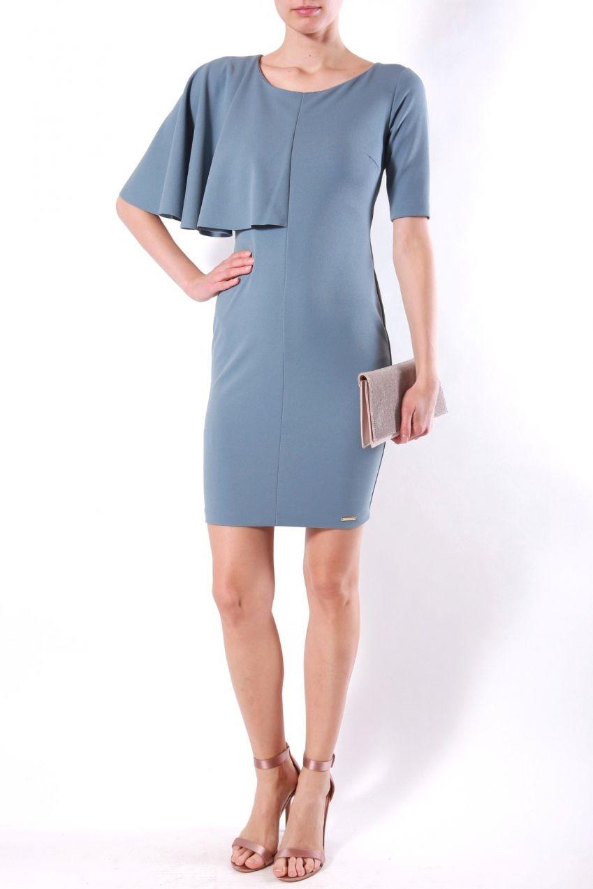 Rinascimento modré dámske elegantné šaty s volánikom značky Rinascimento -  Lovely.sk 8d20c5258b6