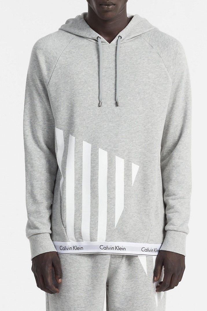 Calvin Klein sivá pánska mikina L S Hoodie s potlačou značky Calvin Klein -  Lovely.sk 93094b599c7