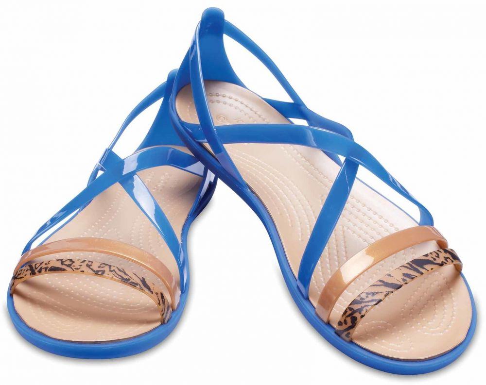 Crocs modré sandále Isabella Grph Strappy Sandal Blue Jean Gold značky Crocs  - Lovely.sk c589704bf3a