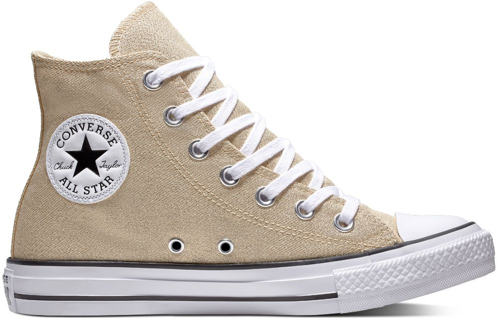 Converse zlaté tenisky Chuck Taylor All Star Hi Light Twine White Black  značky Converse - Lovely.sk 61b658ac09