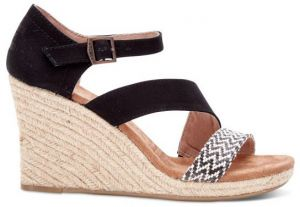 Toms čierne topánky na kline Clarissa Black White Woven With Rope Wedge