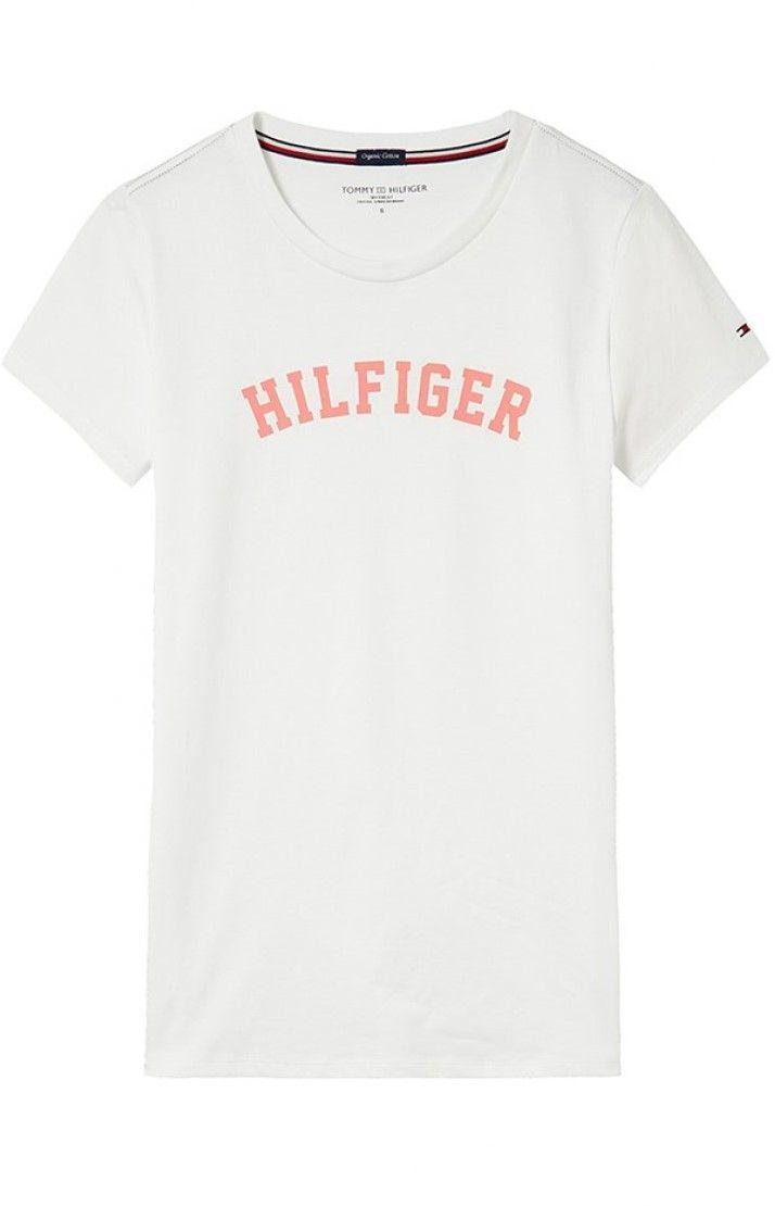 d9fff76578 Tommy Hilfiger biele dámske tričko SS Tee Print s lososovým nápisom značky Tommy  Hilfiger - Lovely.sk