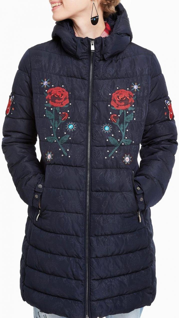 Desigual tmavě modrý kabát Flash značky Desigual - Lovely.sk 8a77b2f11b0