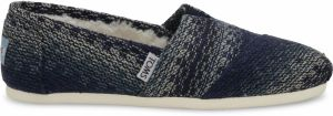 Toms modré espadrilky Blue Multi Stripe Woven With Shearling