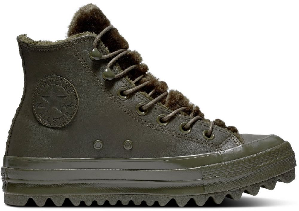 Converse khaki kožené členkové tenisky Chuck Taylor All Star Lift Ripple Hi  Utility Green značky Converse - Lovely.sk 382f993a1ea