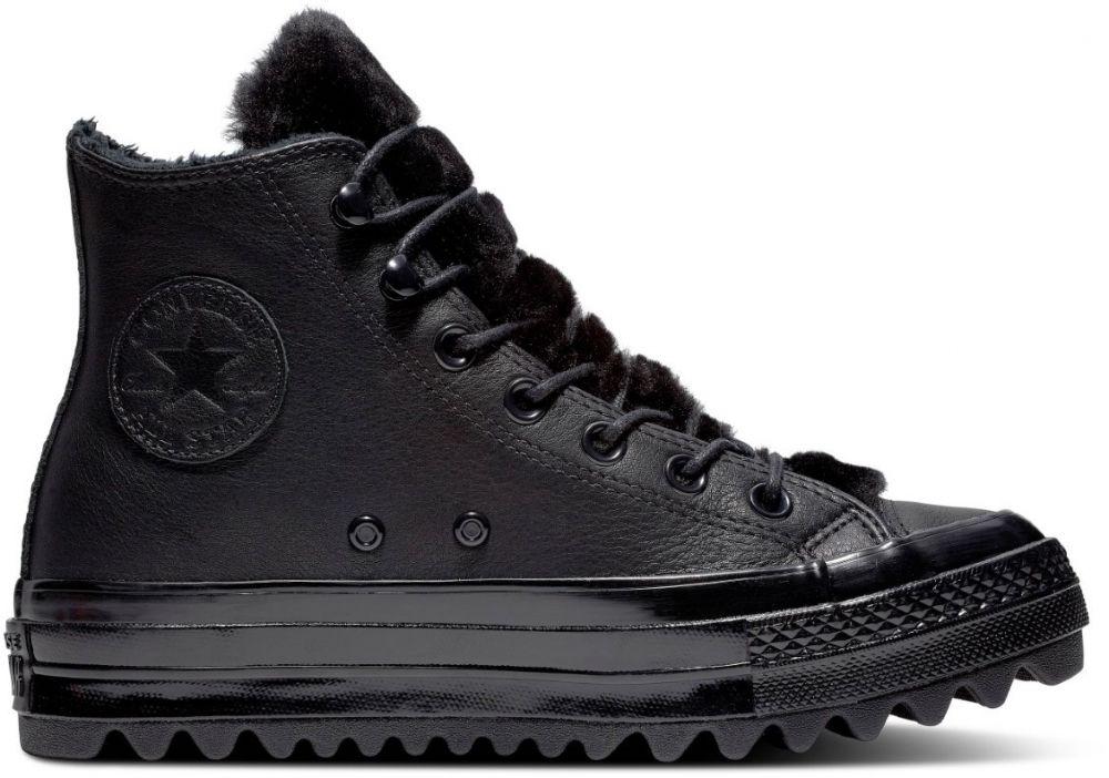 Converse černé kožené kotníkové tenisky Chuck Taylor All Star Lift Ripple  Hi Black značky Converse - Lovely.sk 20adc1a118f