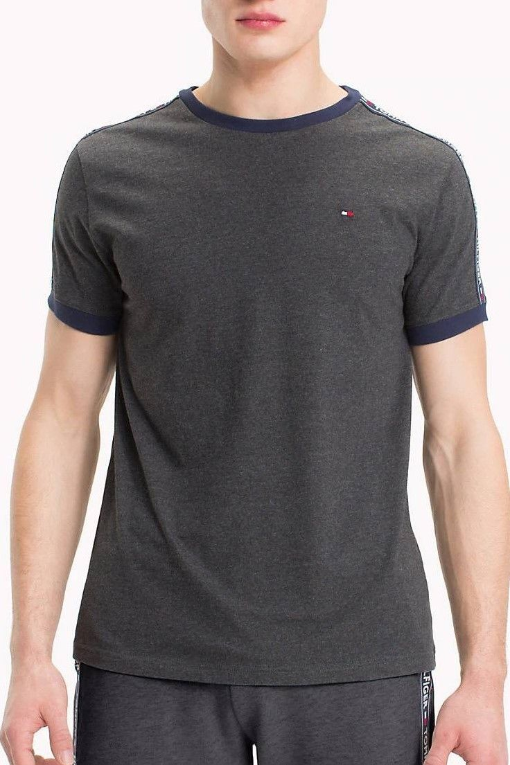 b9d2a83c519 Tommy Hilfiger tmavo sivé tričko RN TEE SS s logom značky Tommy ...