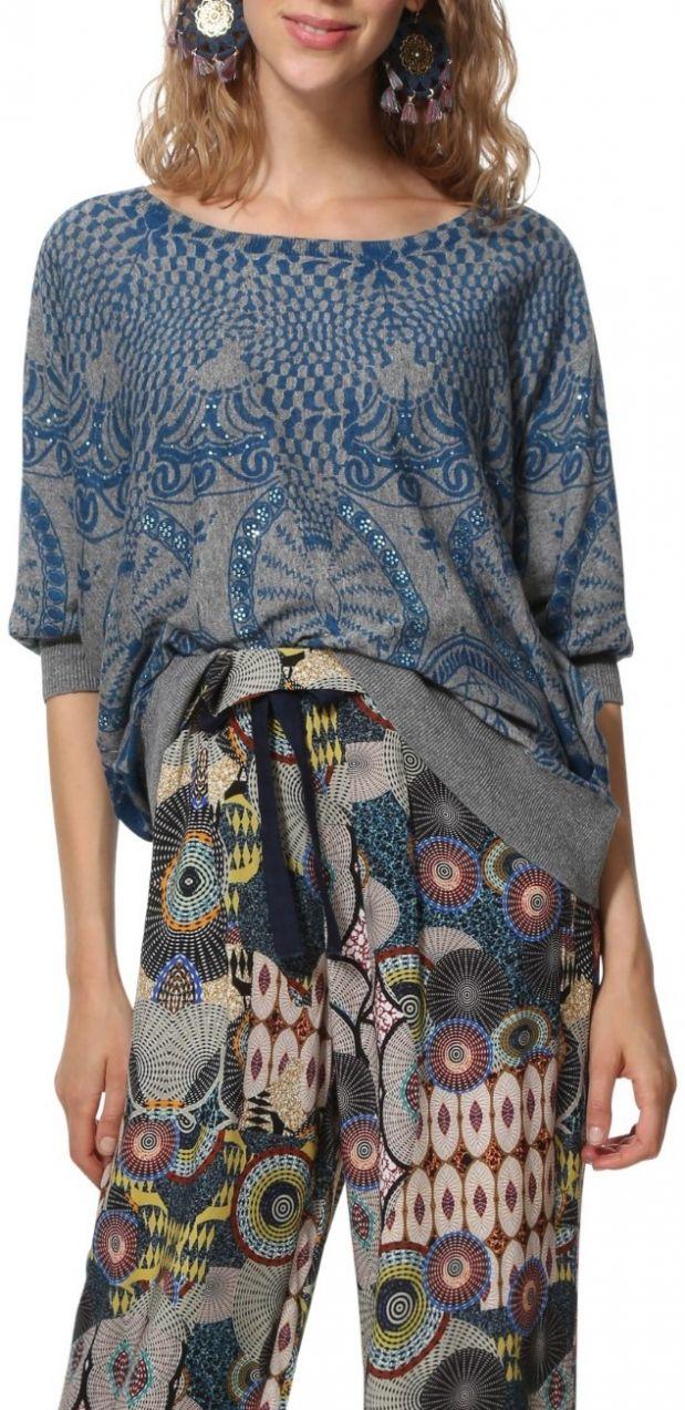 bd1b17091b29 Desigual sivý sveter Jers Lisburn značky Desigual - Lovely.sk