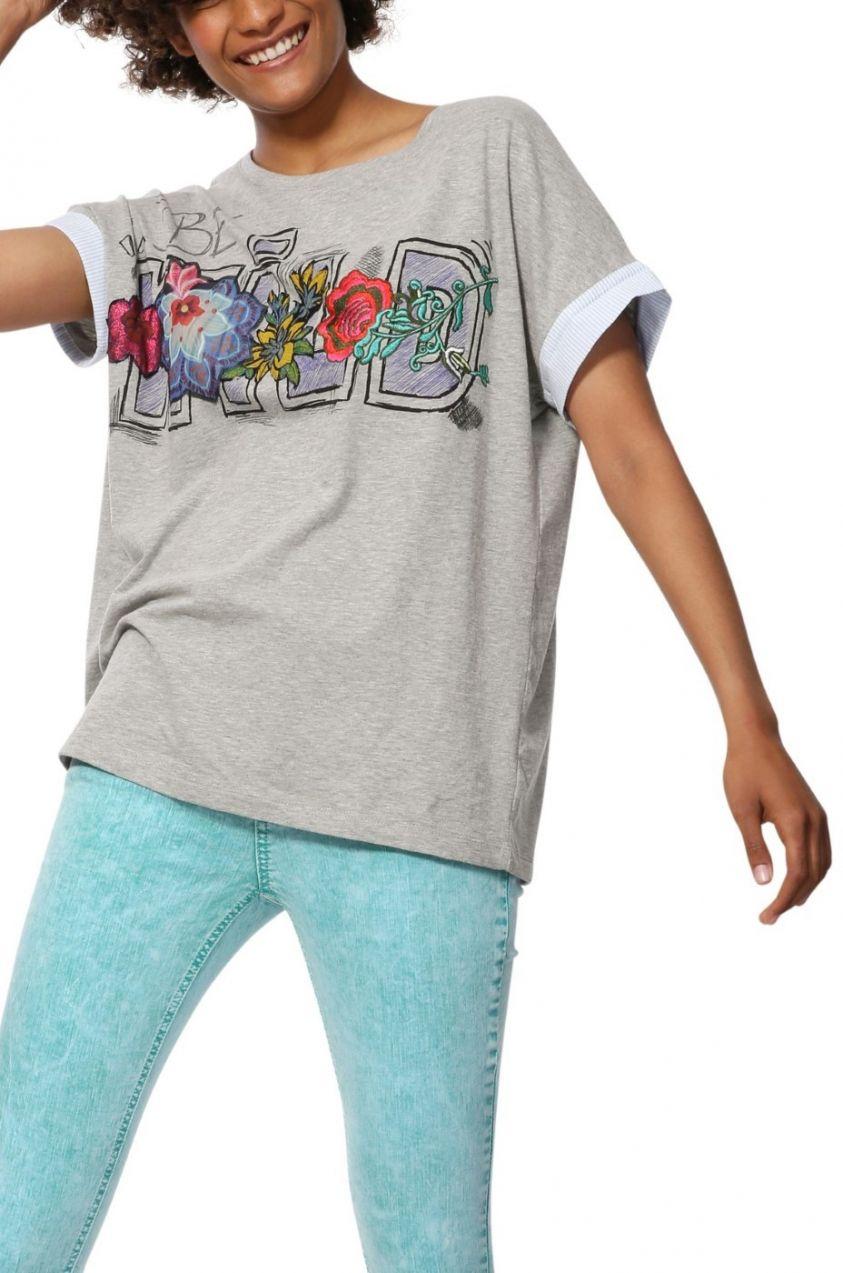 Desigual sivé tričko TS Adriana s výšivkou značky Desigual - Lovely.sk 970fd8a2e75